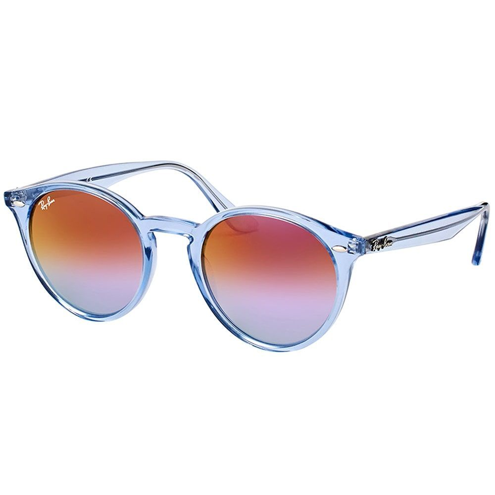 9b035944c00 Ray-Ban RB 2180 6278A9 Shiny Light Blue Plastic Round Sunglasses Blue  Violet Mirror Lens (Shiny Light Blue)