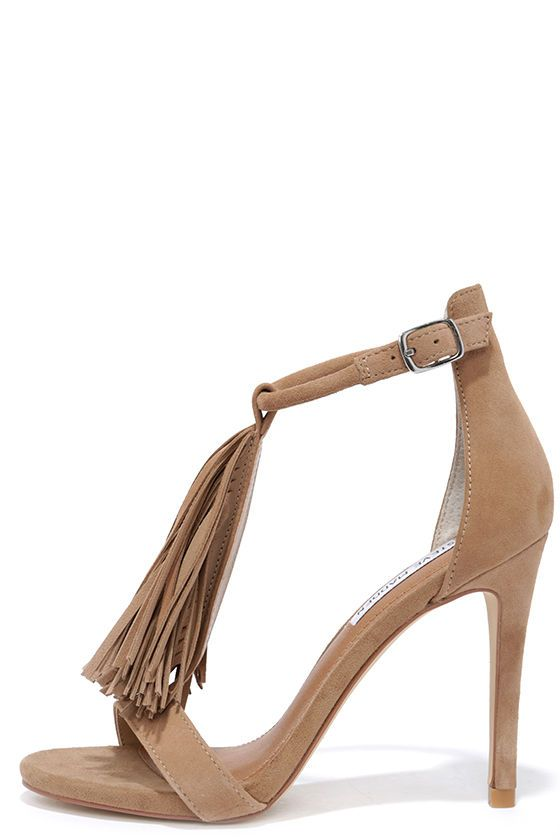 Feeling sassy? Let the Steve Madden Sashi Taupe Suede Leather Fringe Dress Sandals curb your craving for all things fringey