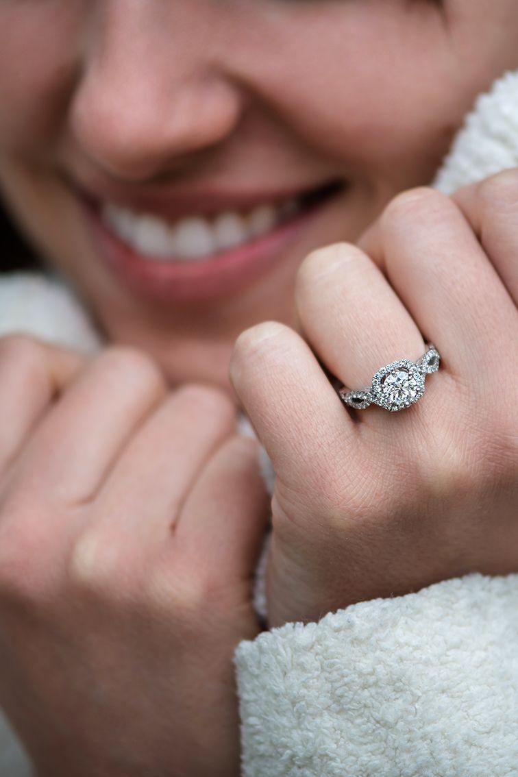Round Halo Diamond Infinity Engagement Ring | Pinterest | Halo ...