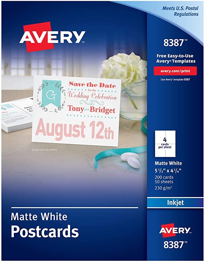 Amazon Com Avery Printable Postcards Inkjet 4 25 X 5 5 200 White Cards 8387 Blank Postcards Printable Postcards Postcard Template Avery Printable