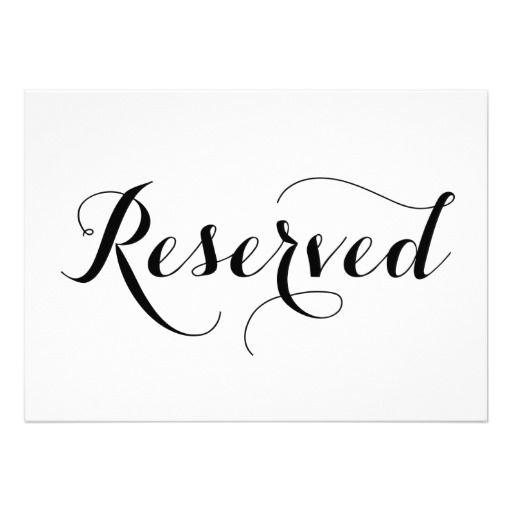 Modern calligraphy reserved wedding sign card modern for Reserved seating signs template