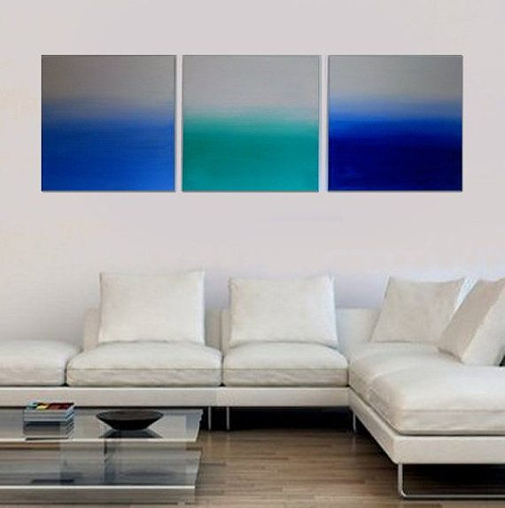 """Set of 3 Abstract Seascape Paintings Blue Triptych Original  Fine Art by Mhari Each Canvas 24"""" x 24'' FREE SHIPPING WORLDWIDE on Etsy, $332.35"""