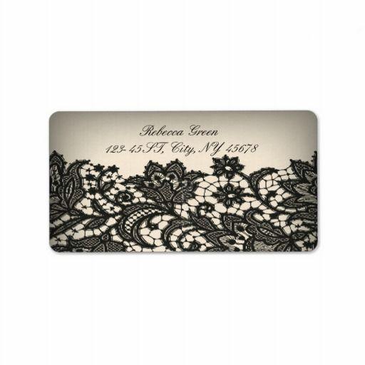 vintage paris fashion floral pattern black lace label