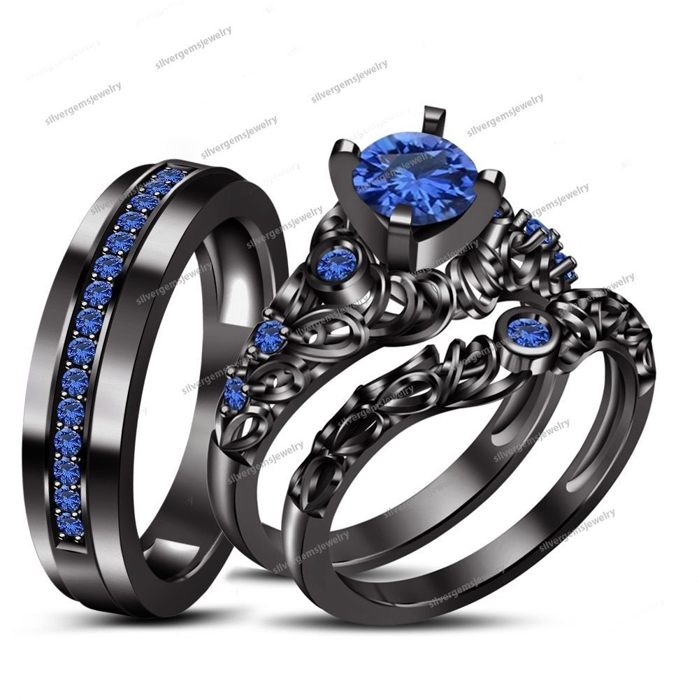 Brillant Rd Sapphire 14k Black Gold Fn 925 Silver His Her Wedding Trio Ring Set Black Gold Jewelry Blue Wedding Rings Wedding Ring Trio Sets