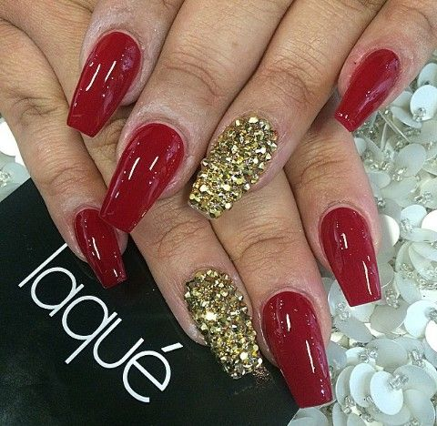 Red Gold Rhinestones Red And Gold Nails Gold Nail Designs Red And Silver Nails
