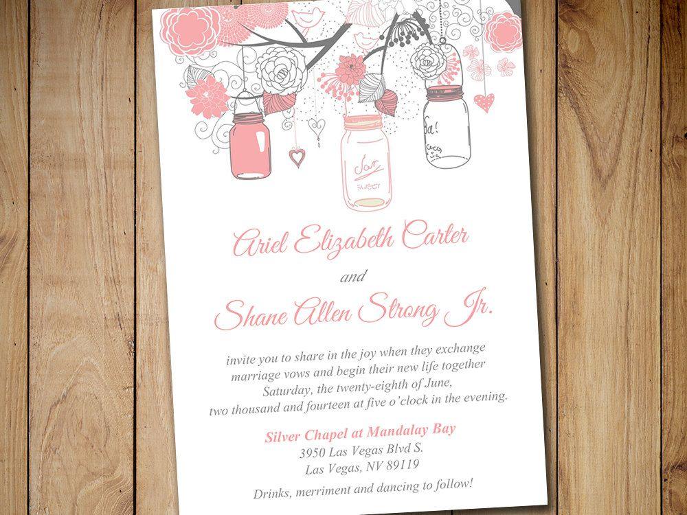Printable Wedding Invitation Template - Mason Jar Invitation Blush - printable wedding shower invitations templates
