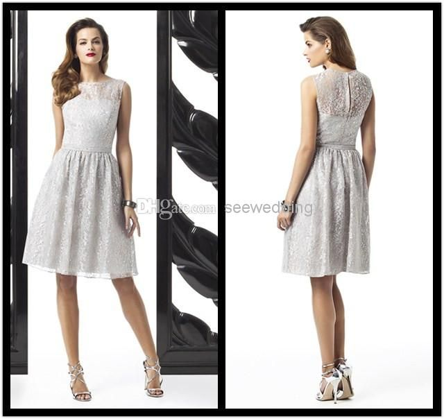 Wholesale Silver Bridesmaid Dresses - Buy Cheap Silver Lace Dessy ...