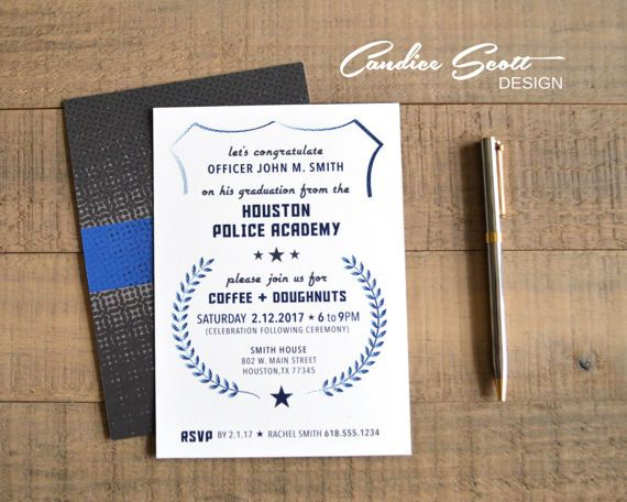 police academy graduation invitation diy printable file products