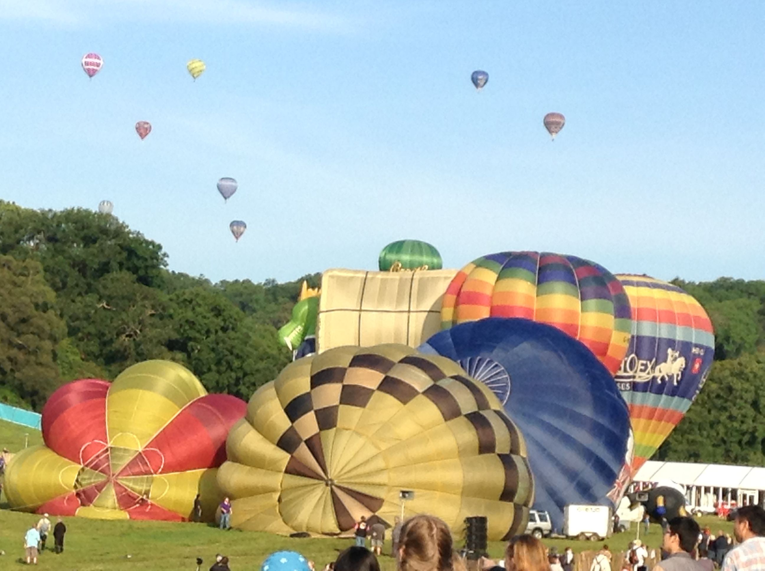 Hot air balloons inflating Bristol balloon festival August