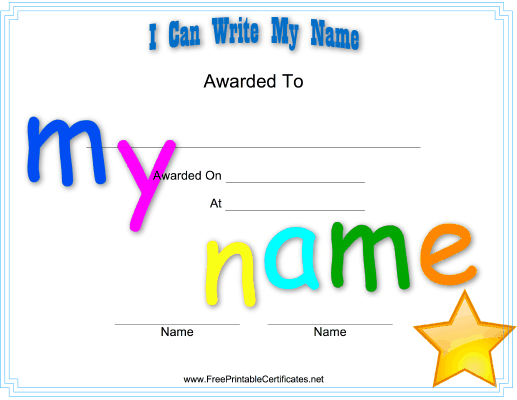 with this printable certificate kids in preschool or kindergarten can celebrate the achievement of learning to write their name free to download and print