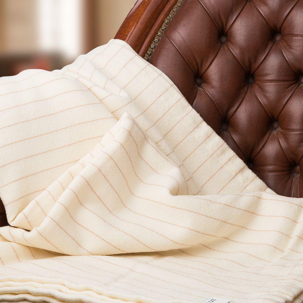 brahms mount pinstripe fine wool natural queen blanket blanket