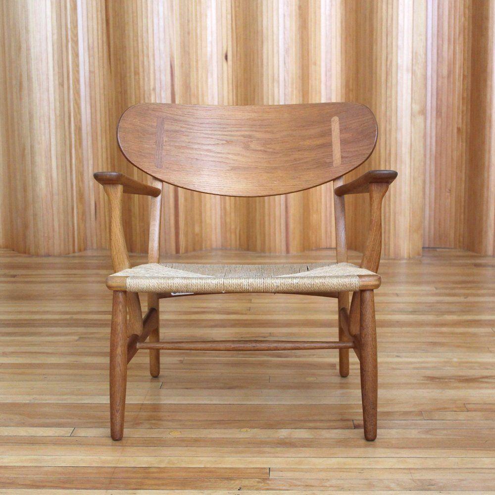 For Sale Hans Wegner Model Ch22 Oak Lounge Chair By Carl Hansen