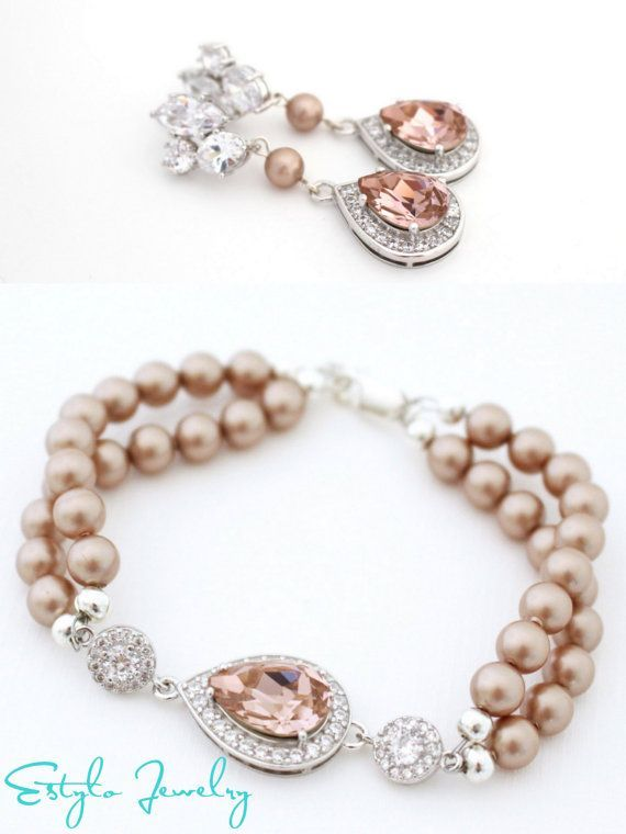 Blush Bridal Jewelry Set Champagne Pearl Earrings and Bracelet