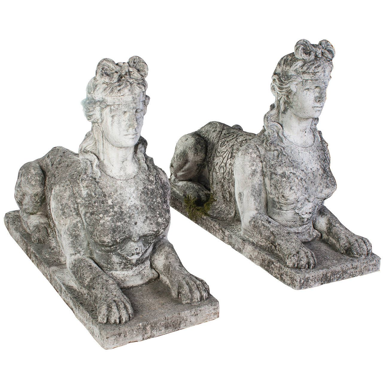 Large Pair Of Carved Vincenza Stone Sphinx. Garden Statues