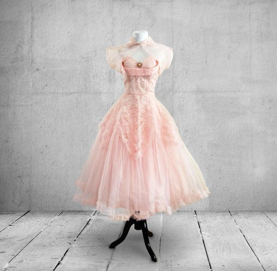 RESERVED for Liz 1950s Tulle and Taffeta Prom Dress Party Dress in ...