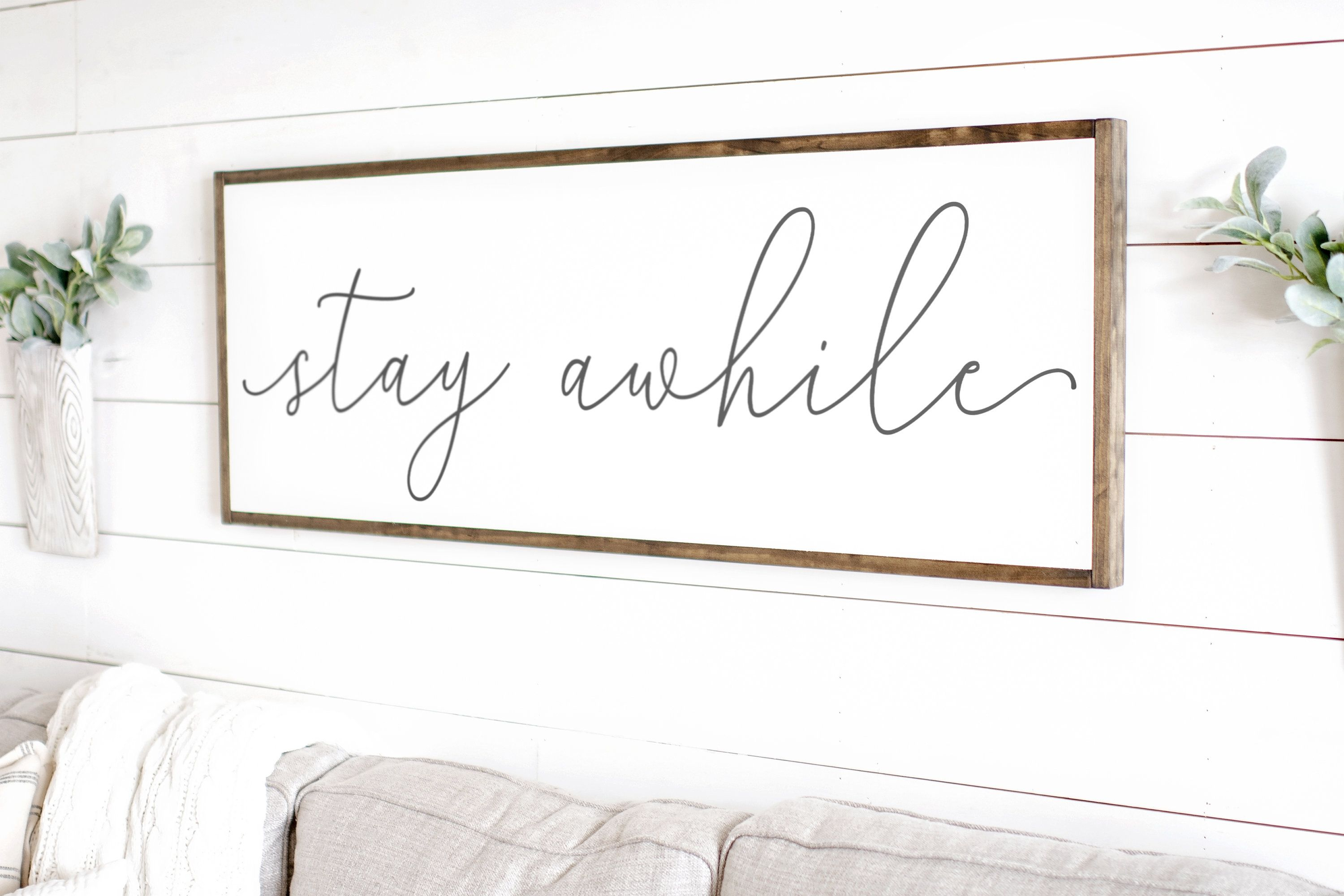 Wood Sign Entryway Wood Sign Living Room Signs Farmhouse wall decor Living Room Wall Decor entryway wall decor Stay awhile sign