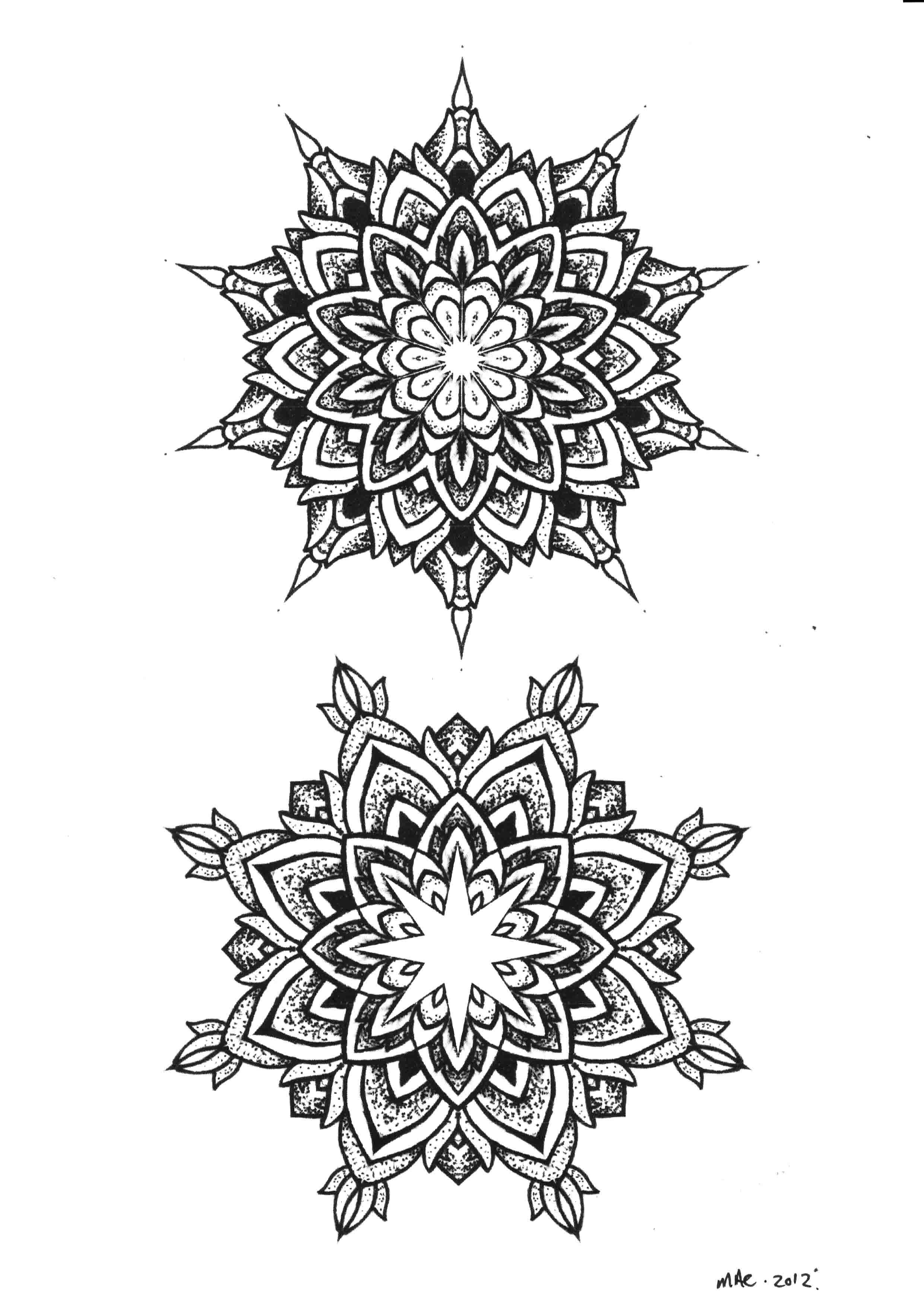 Mandala Flower Tattoo Dot Work Mandala Flowers Tattoos Designs