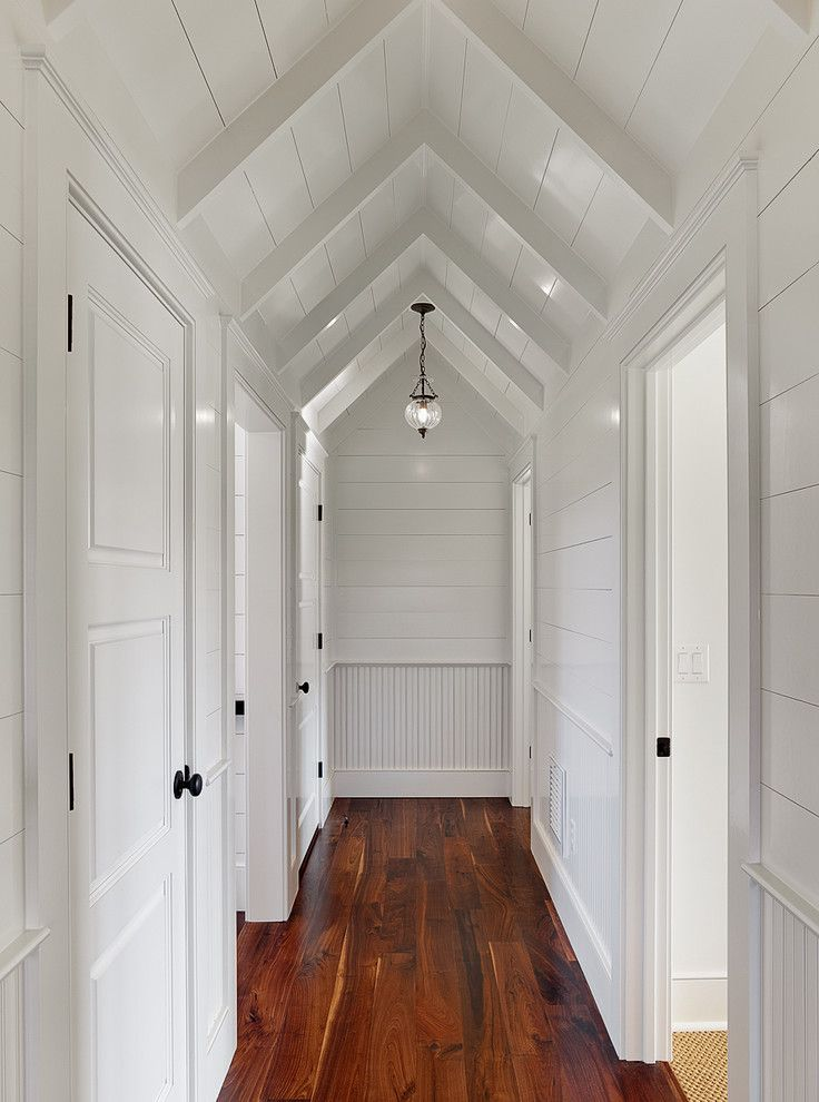 Good Chair Rail Vaulted Ceiling Part - 9: Shiplap Traditional Hall Designs Charleston Chair Rail Sloped Ceilings  Vaulted Ceilings Wainscoting White Trim Wood Flors | Design U0026 Beyond |  Pinterest ...