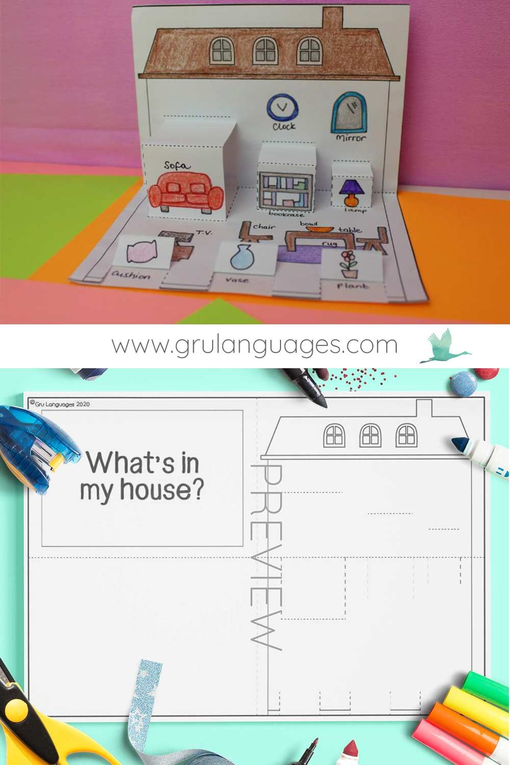 My House Pop Up Craft Gru Languages Learning English For Kids Activities Vocabulary Activities