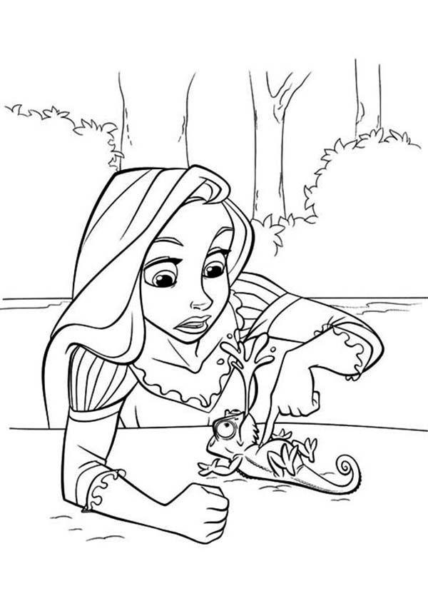 Rapunzel Tickling Pascal Coloring Page Rapunzel Coloring Pages