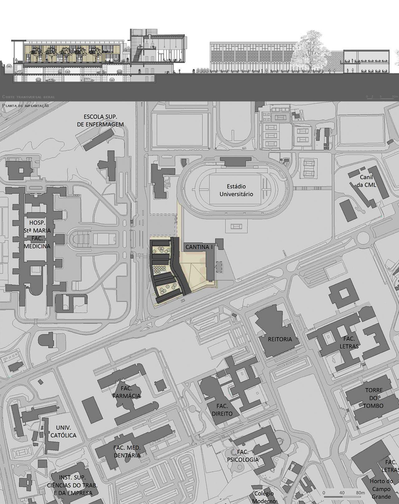 Prêmio Secil Universidades – Arquitetura: Centro Multifuncional e Residência de Estudantes  / Simão Silveira Botelho,Corte transversal geral + Planta de implantação
