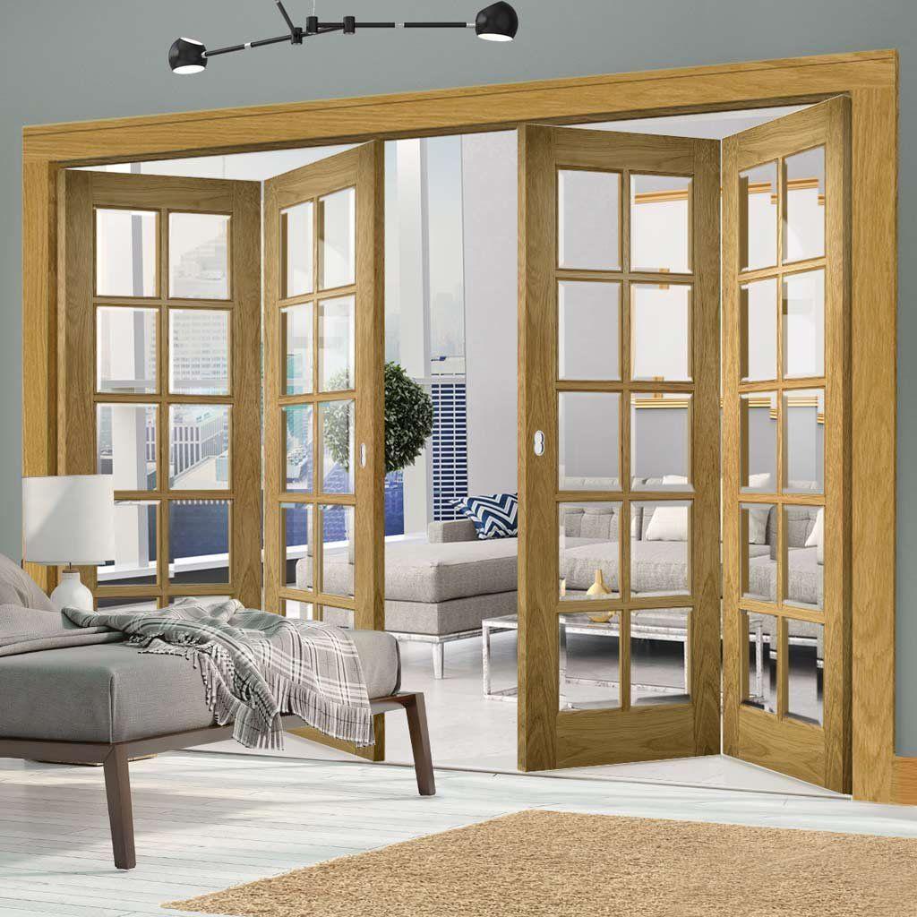 Thrufold Bristol Oak 2+2 Folding Door - 10 Pane Clear Bevelled Glass