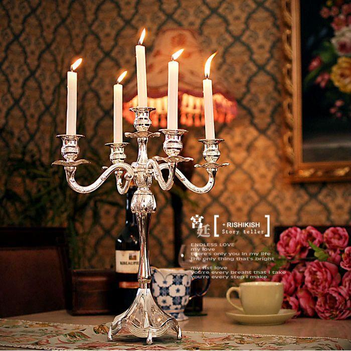 H45cm 5 Arm Candelabra Silver Plated Candle Holder Wedding Stands Tall Holders Crystal Candelabras