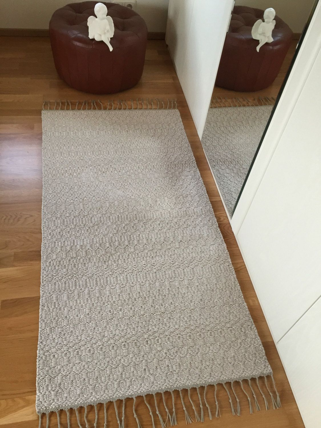 Modern Rustic Rug Off White Grey Mix Cotton And Linen Rug Hand - Off white bathroom rugs for bathroom decorating ideas