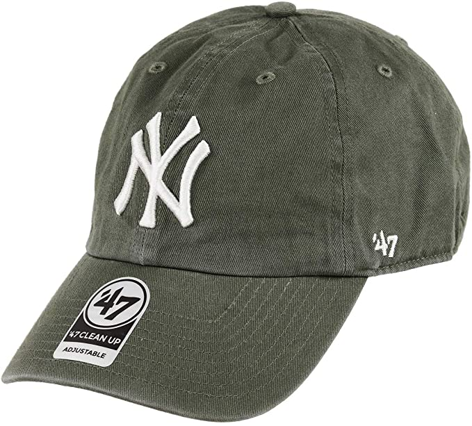 Amazon Com 47 Brand New York Yankees Clean Up Dad Hat Cap Strapback Moss Olive Green White Clothing Dad Hats 47 Brand New York Yankees