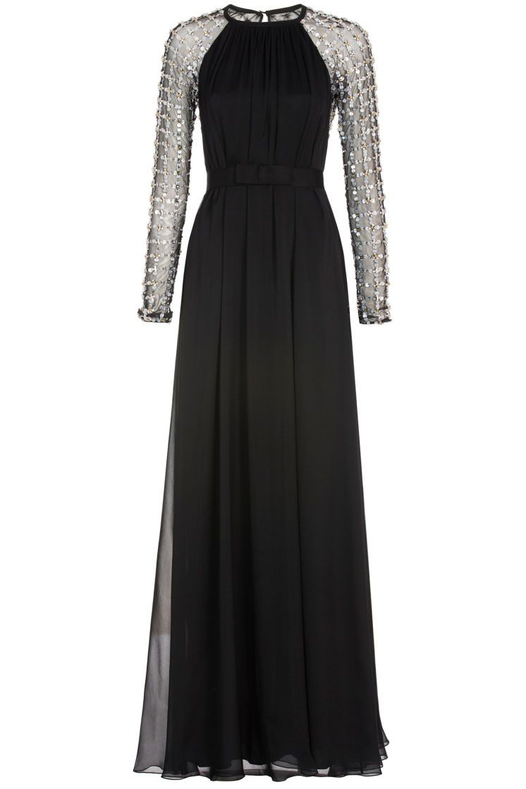 BLACK Long Angeli Lattice Gown