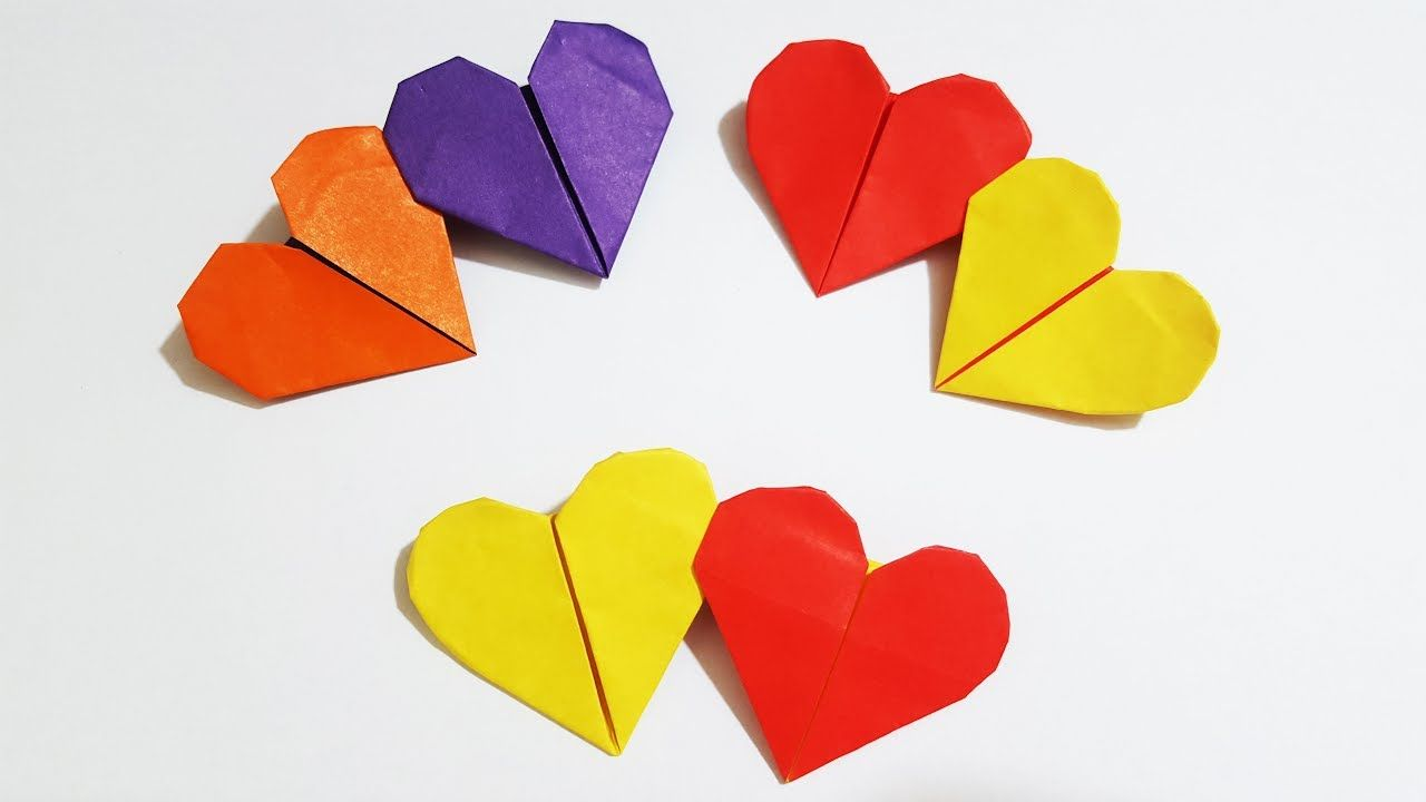 Origami easy double heart in different color origami tutorial origami easy double heart in different color origami tutorial for kids jeuxipadfo Gallery