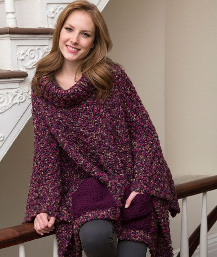 Free Knitted Poncho Pattern : Pocket Poncho Free Knitting Pattern from Red Heart Yarns New, New Free Patt...