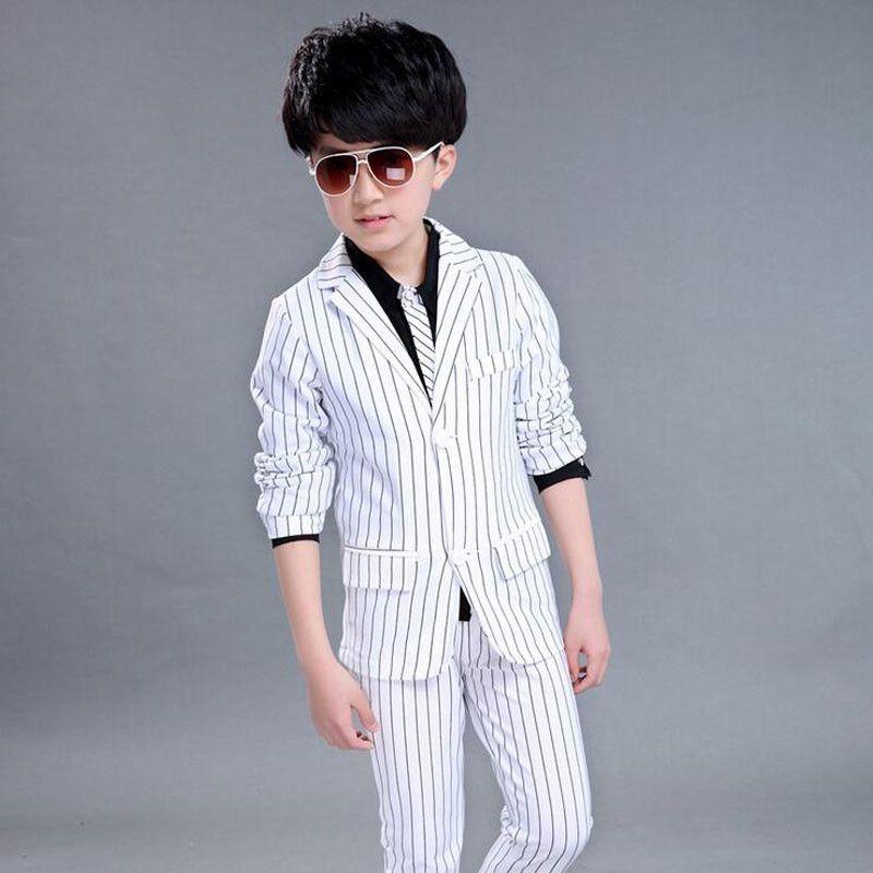 8b3567ff9 White Suits for Boys Blazer Striped White Suits for Weddings Suits Boys  Blazer Gentleman Kids Boys Formal Wedding Suit