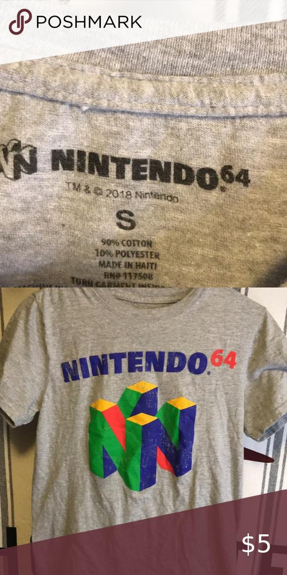 Nintendo 64 Shirt Shirts Shirts Grey Tops Tees