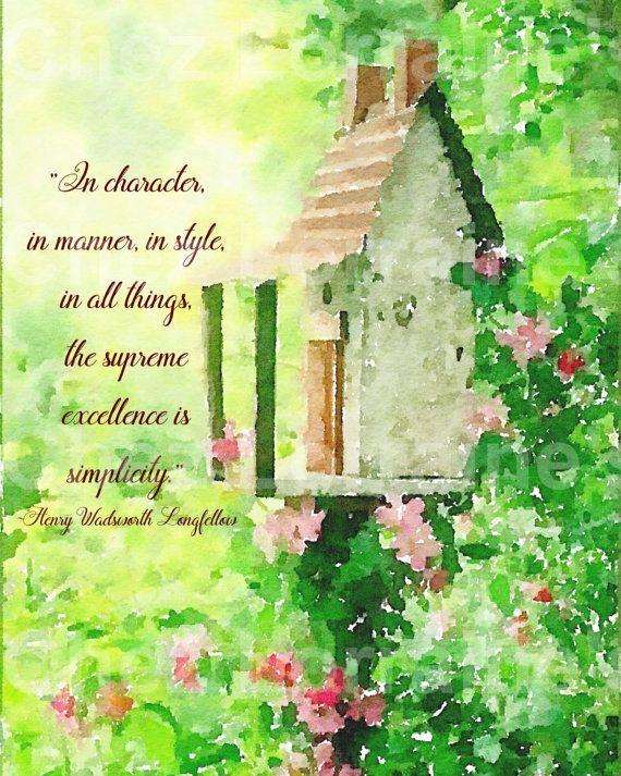 Rustic Garden Watercolor Print, Simplicity Quote, Bird Feeder ...