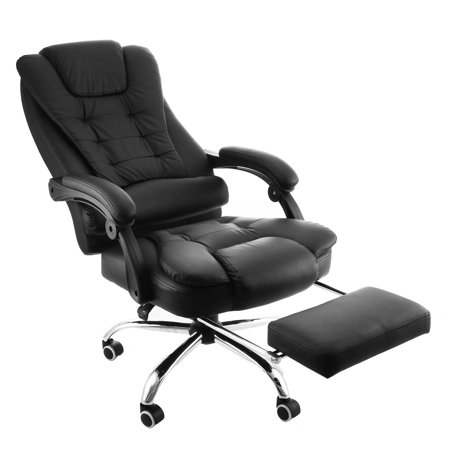 Happybuy Executive Swivel Office Chair With Footrest Pu Leather Ergonomic Office Reclining Chair Adj Reclining Office Chair Office Chair Ergonomic Office Chair