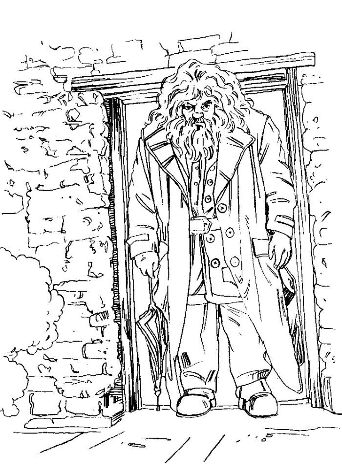 Hagrid out of doors coloring pages harry potter coloring pages kidsdrawing free coloring