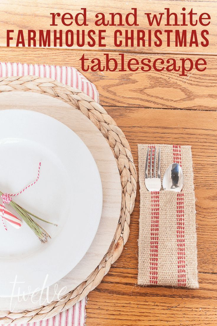 Red and White Farmhouse Christmas Tablescape images