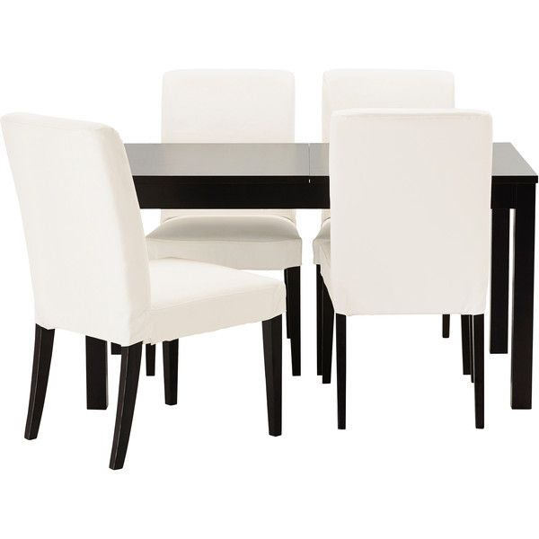 IKEA BJURSTA/ HENRIKSDAL Table and 4 chairs, brown-black, Gobo white
