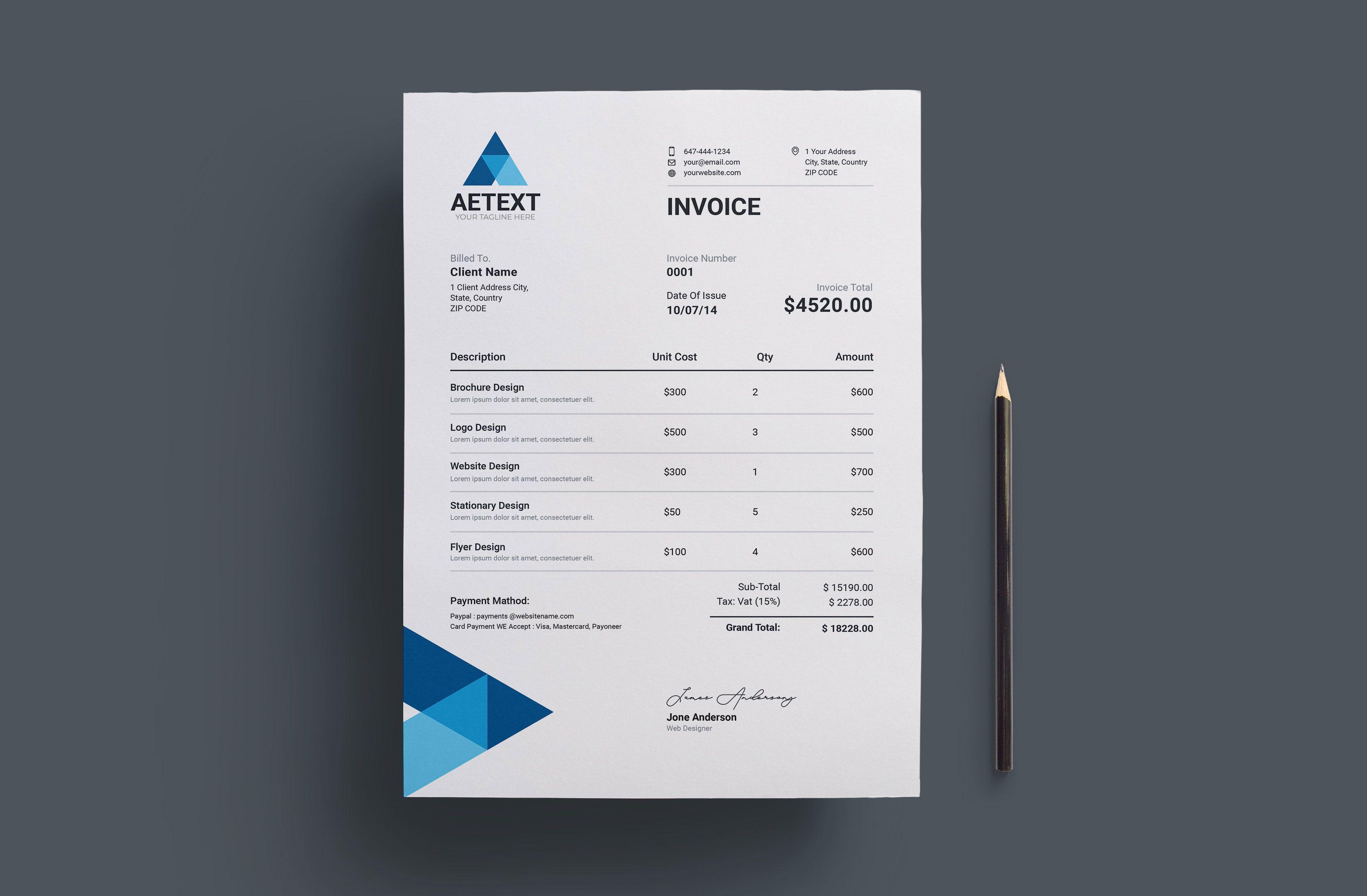 Modern Vector Invoice Template Invoice Template Invoice Design Template Invoice Design