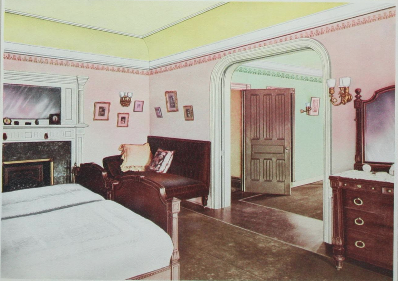 bedroom - alabastine 1906 paint idea booklet. (blog post also