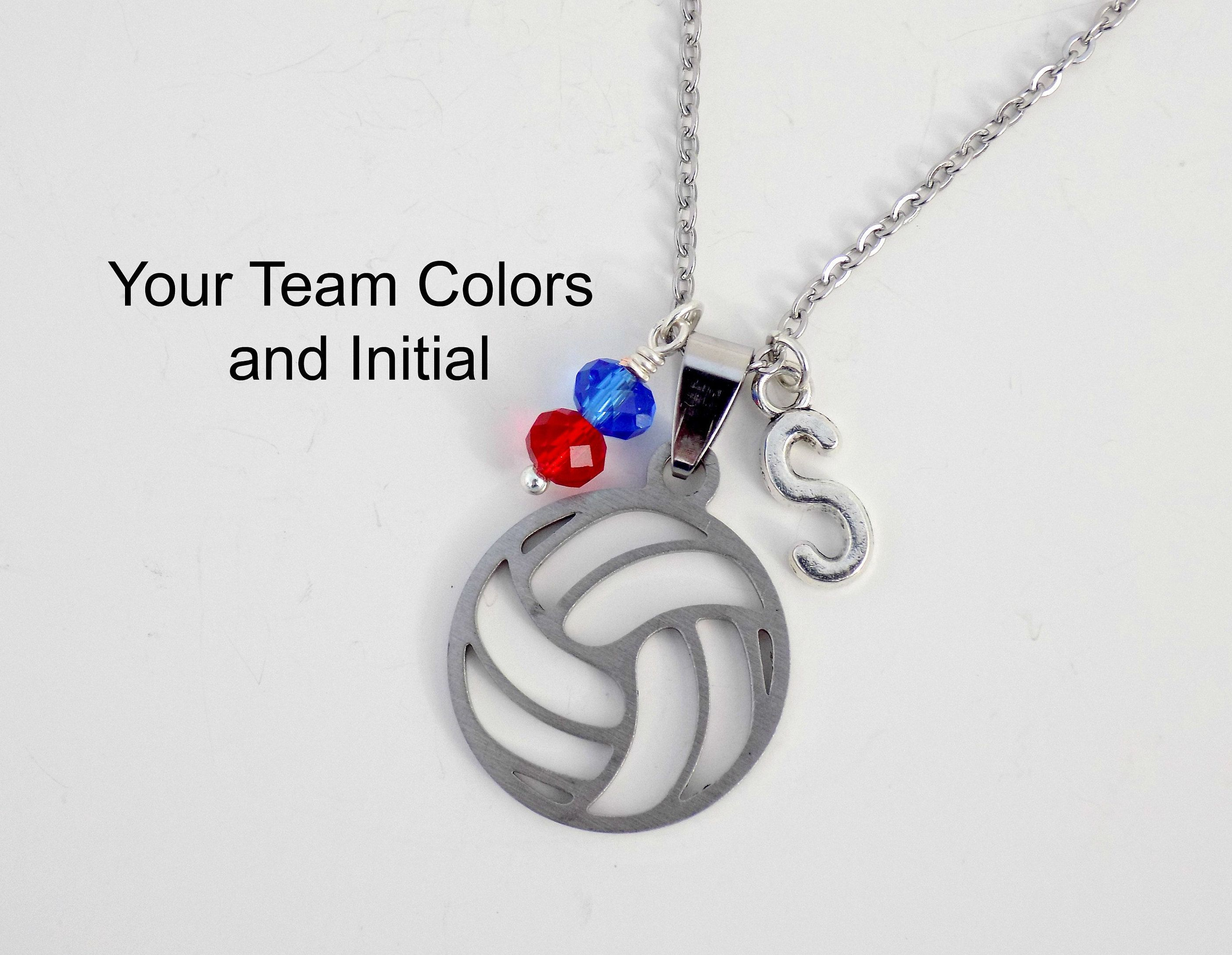 Silver Volleyball Necklace Option To Personalize With A Birthstone Bead Favorite Color Or Team Colors Volleyball Necklace Volleyball Jewelry Silver