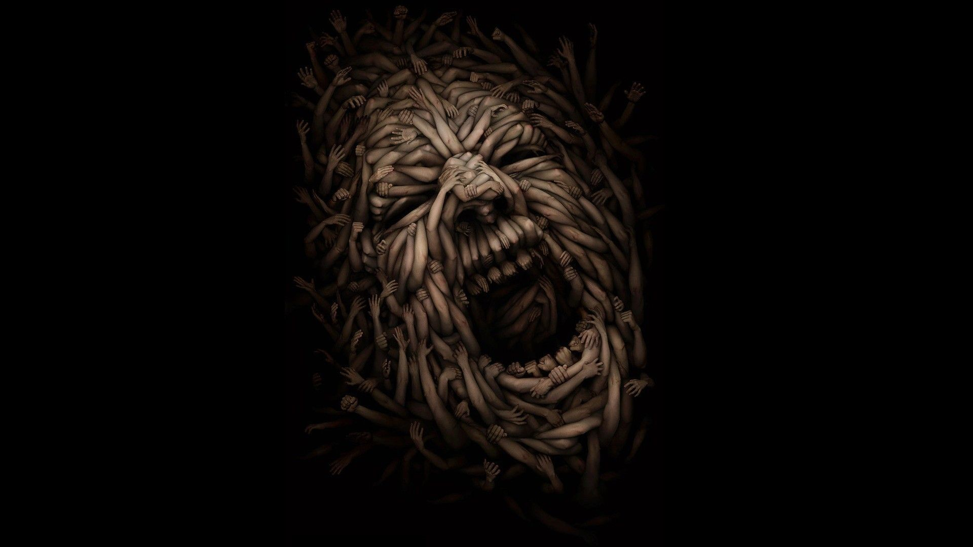 Hands Screaming Faces Illusion Fresh New Hd Wallpaper [Your