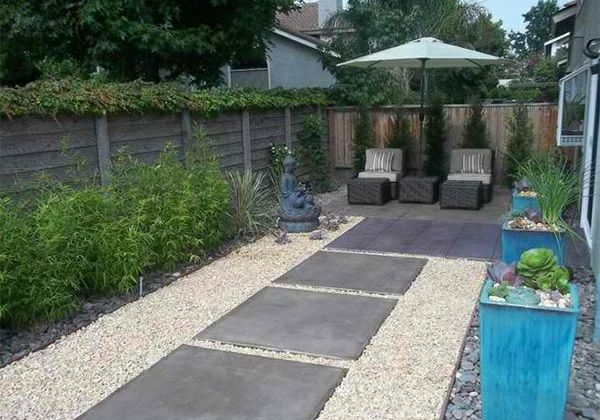 exterior ideen asiatischer garten patio steinplatten kies, Gartenschlauch