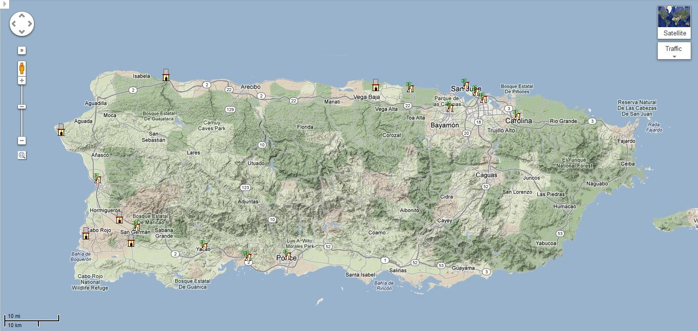 mapa montaas de puerto rico Google