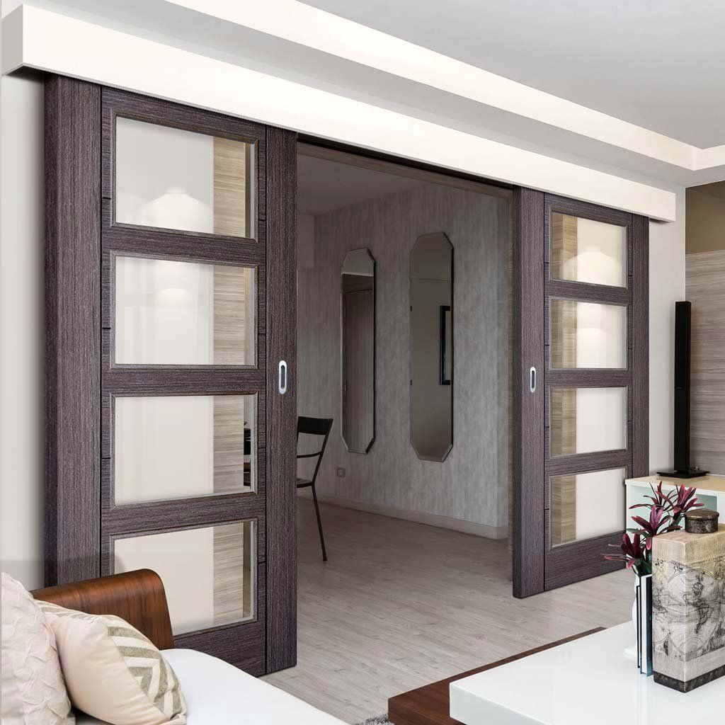 Double Sliding Door Wall Track Vancouver 4 Pane Ash Grey Doors Clear Glass Prefinished Double Doors Interior Sliding Doors Interior Sliding Door Design