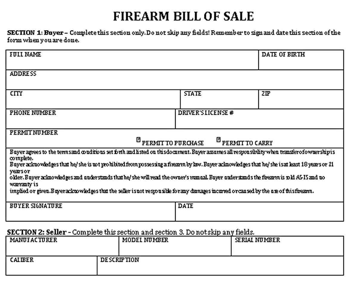 Fire Arm Bill Of Sale Bill Of Sale Template Firearms Bills