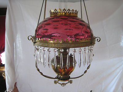 Victorian Cranberry Glass Brass Amp Prism Hanging Lamp On