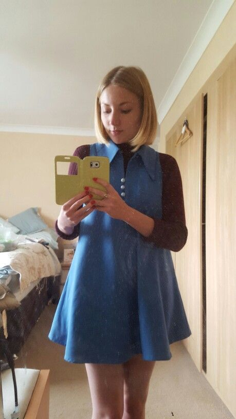 Shortened a dress I found in a charity shop to give it a late 60s look