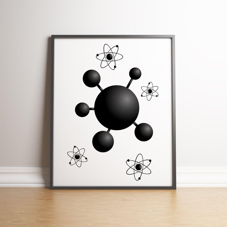 Molecule Wall Decor Science Poster Science Art Nuclear Atom Poster Scientist Art Print Nuclear Physics Science Poster Science Art Art Classroom Decor